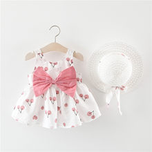 Cherry Princess Dress Toddler Baby Kids Girls Bow Hat Outfits Sleeveless Cute Outdoor baby girl summer dress sukienki letnie(China)