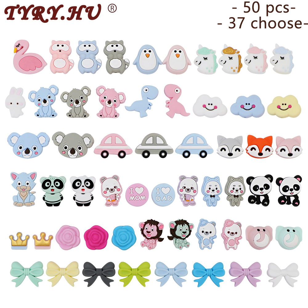 TYRY.HU 50pcs Cartoon Silicone Teething Beads DIY Baby Nurse Gift Toy Koala Dog Stars Crown Flower Animal Mini Silicone Teether