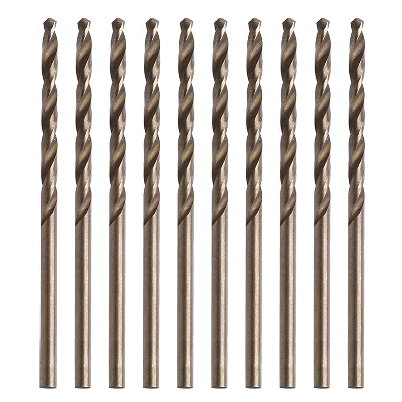 10Pcs 1/1.5/2/2.5/3/3.5/3.5/4/4.5/5 Mm M35 Round Shank HSS-Co Cobalt Twist Drill Spiral Drill Bit