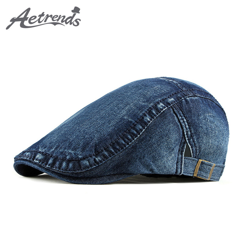[AETRENDS] Denim Ivy Caps Newsboy Hats For Men Women Gatsbay Hat Cabbie Beret Outdoor Flat Cap Z-9912
