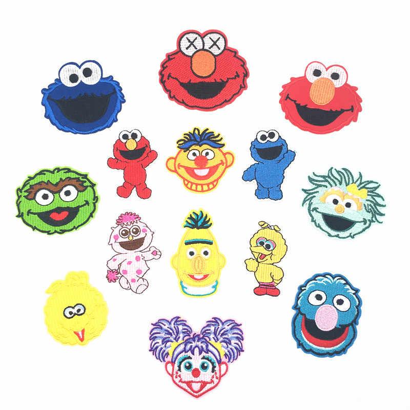 Kartun Sesame Street Besi Pada Patch untuk Pakaian Cute Diy Patch Bordir Stiker Di Pakaian Bordiran Elmo Cookie Monster