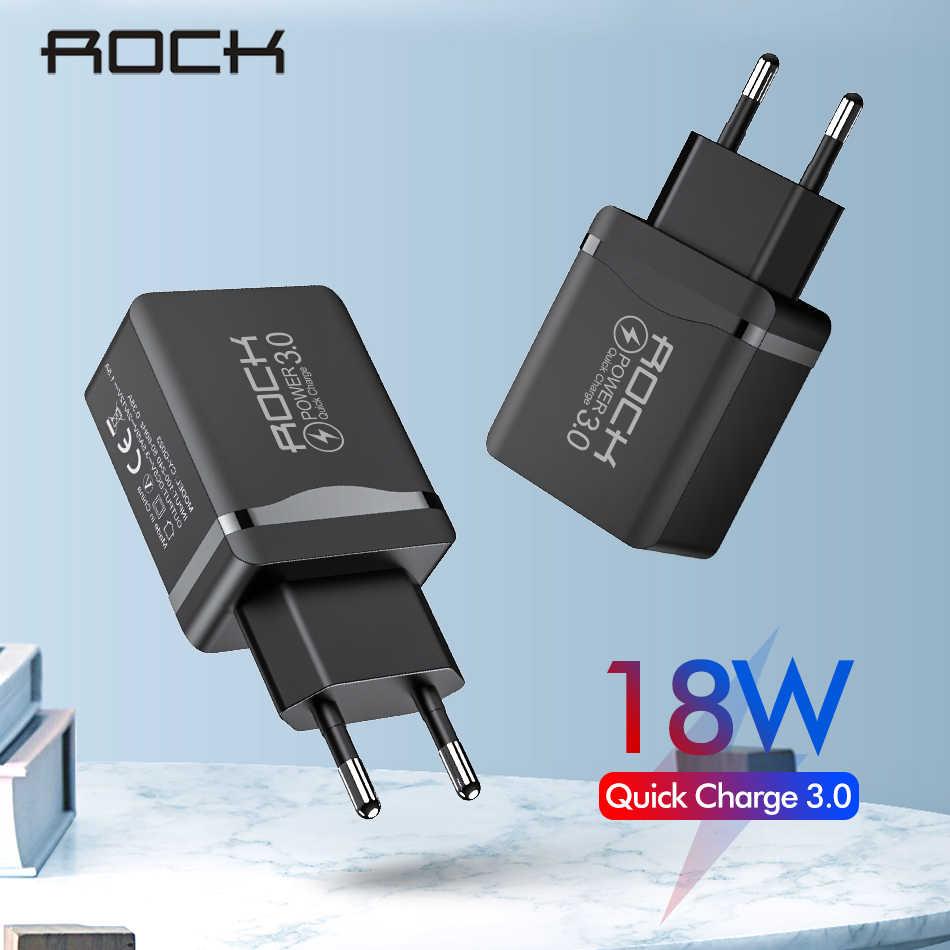 ROCK 18W QC 3,0 USB cargador de teléfono rápido adaptador de pared de viaje 18W QC3.0 FCP Universal para Xiaomi iPhone Samsung Huawei enchufe de la UE