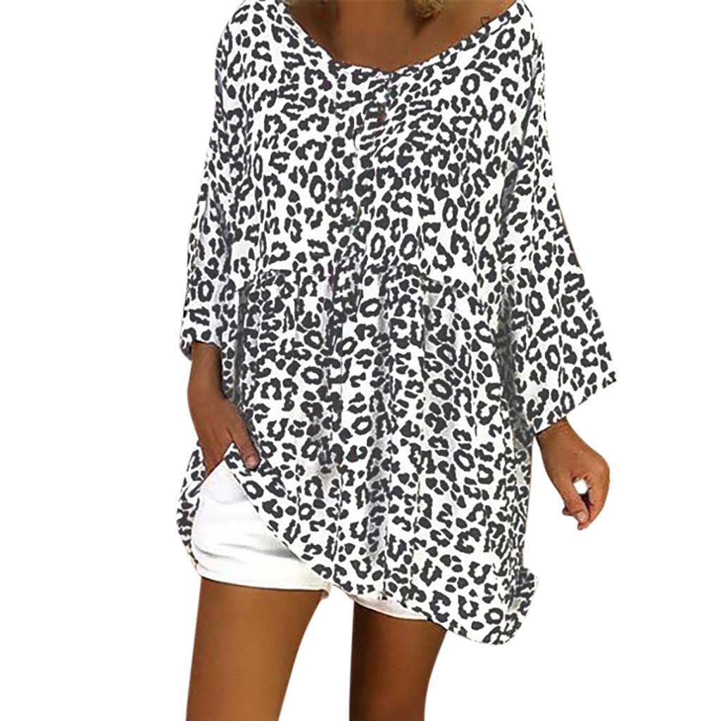 Women Casual Plus Size Tops Boho Leopard Tops O-Neck Blouses Brief Top Loose Top Tunic Shirt Blouse Top For Spring Clothes BL#