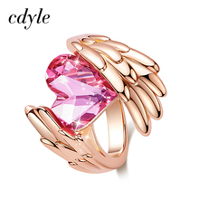 Cdyle Women Gold Ring Embellished with Crystal from Swarovski Angel Wings Heart Ring Wedding Finger Ring for Women Girls