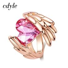 Cdyle kobiety złoty pierścionek ozdobiony kryształem Swarovski Angel Wings pierścień z sercem obrączka ślubna dla kobiet dziewczyn