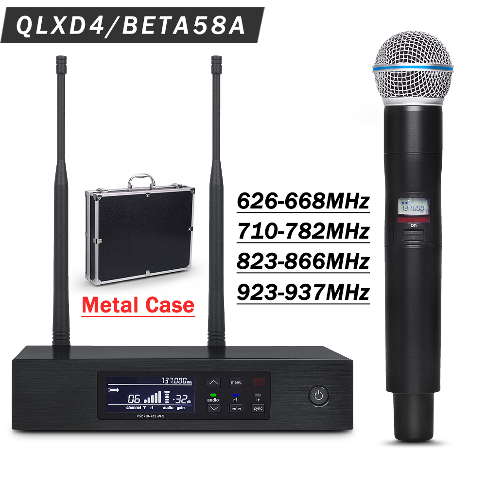 Professional UHF Wireless Mic System QLXD4 with Metal Case True Diversity Stage Performance BETA58 Single Handheld