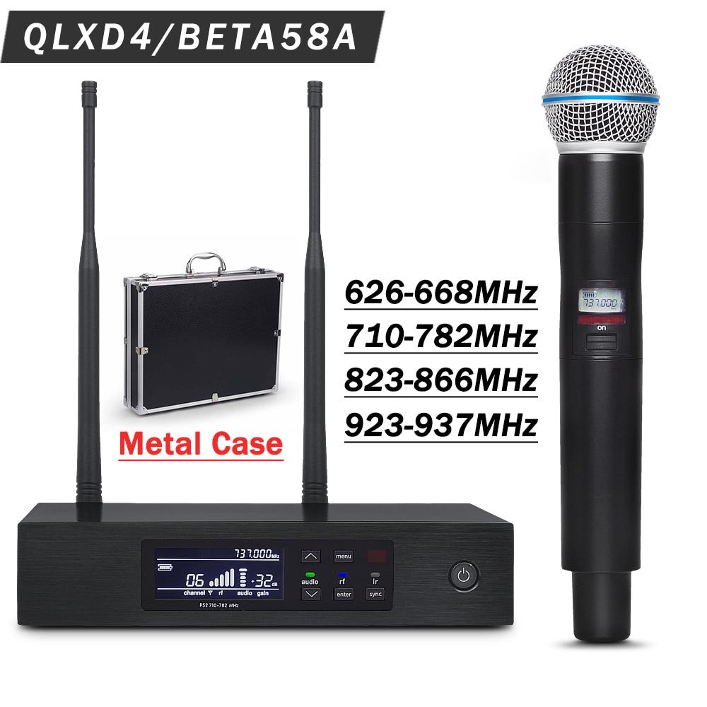 Professional UHF Wireless Mic System QLXD4 with Metal Case True Diversity Stage Performance BETA58 Single Handheld