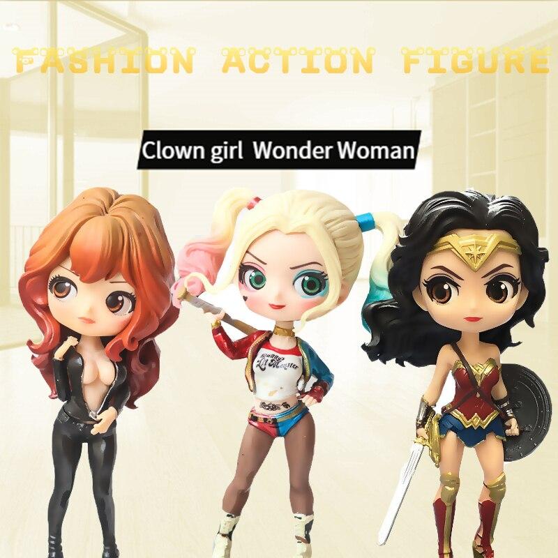 Q Posket Wonder Woman Black Widow Harley Quinn Clown Girl Superhero PVC Action Figure Anime Figurines Collectible Dolls Kids Toy