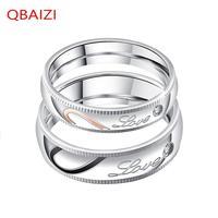 QBAIZI Fashion Couple Ring Classic Men's Finger Titanium Steel Classic Ladies Ring