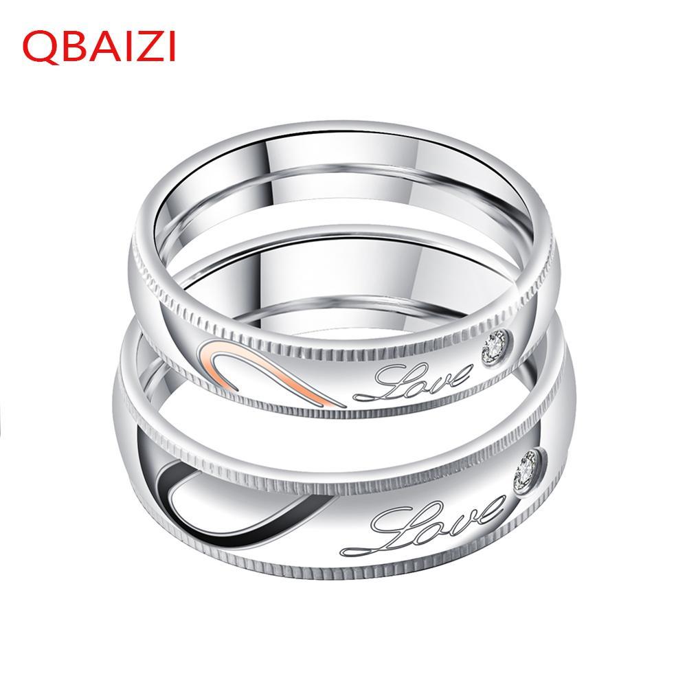 QBAIZI Mode Paar Ring Klassieke mannen Vinger Titanium Staal Klassieke Dames Ring