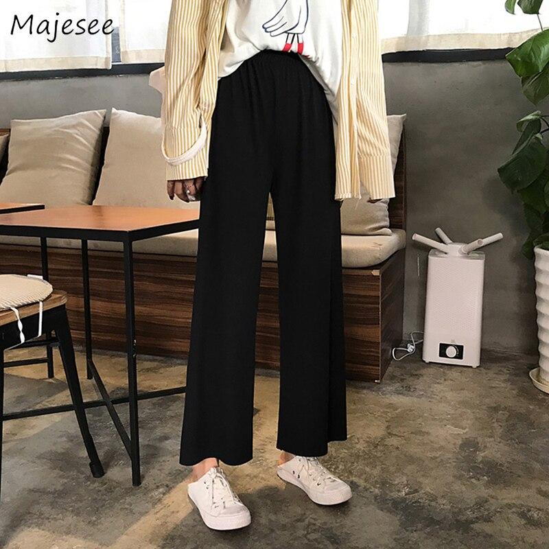 Pants Women Plus Size 3XL Thin Loose Wide Leg Black High Elastic Waist Korean Style Womens Trousers New All-match Casual Fashion