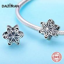 DALARAN 925 Sterling Silver Snowflake Openwork Bead Fit DIY Pandora Charms Bracelets Necklace Original Women Fine Jewelry Gift цена 2017