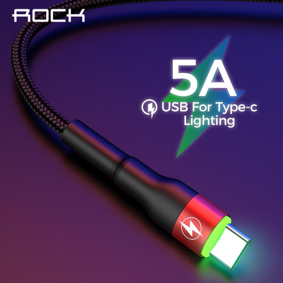 Кабель USB Type-C для телефона 5A Светодиодная лампа для Samsung S10 S9 S8 Xiaomi Huawei Quick Charge QC3.0 4,0 USB-C кабель для быстрой зарядки