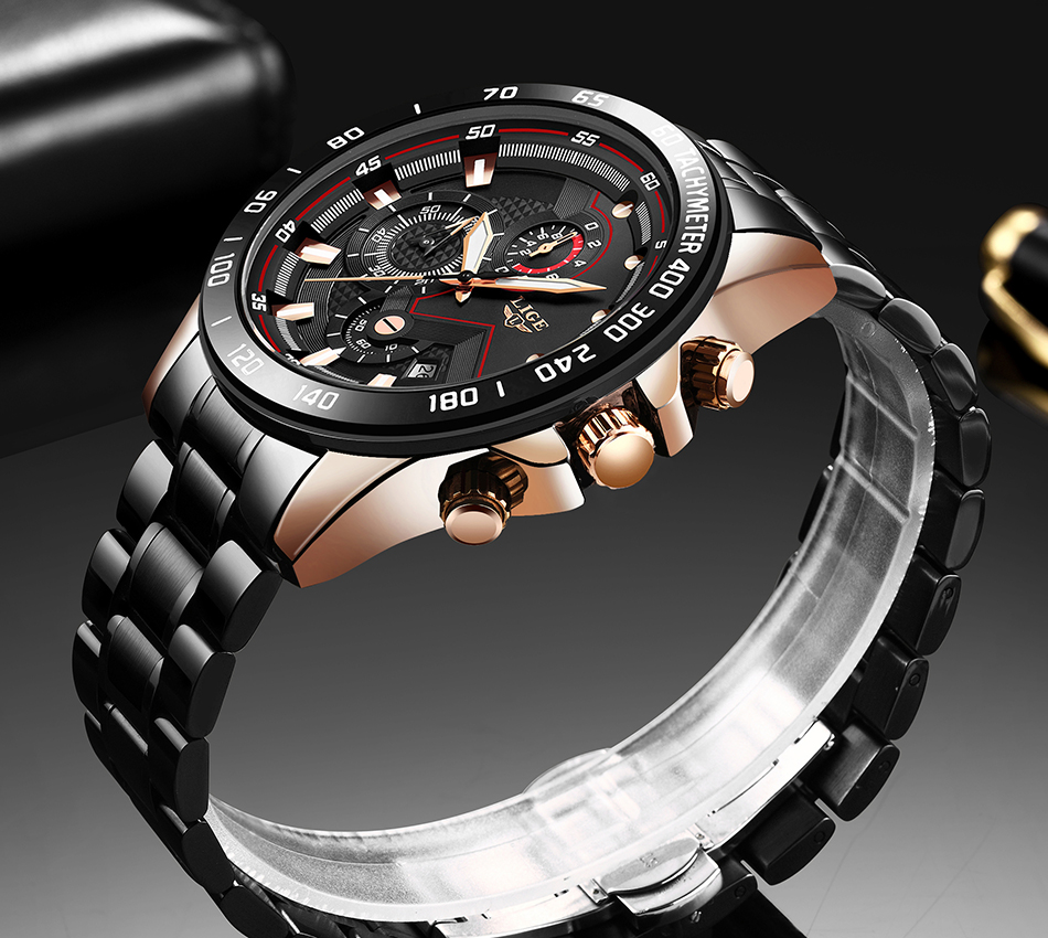 H0cd91754f283477da416736d436e9786W Relogio Masculino LIGE Chronograph Mens Watches Stainless Steel Waterproof Date Quartz Watch Men Business Classic Male Clock+box