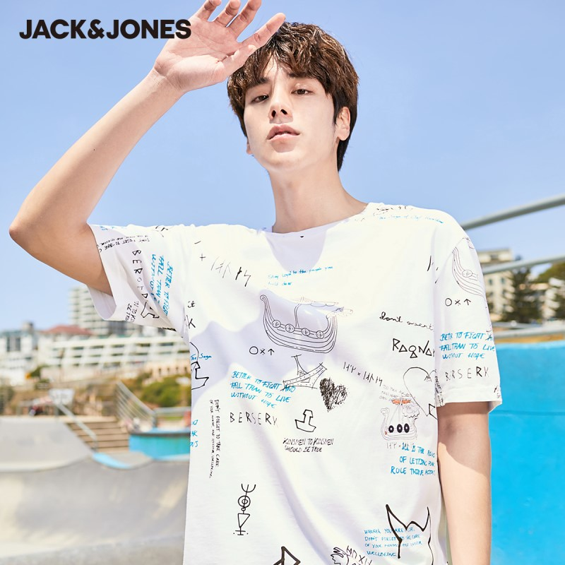 JackJones Men's 100% Cotton Graffiti Pattern Round Neckline Short-sleeved T-shirt| 220101583