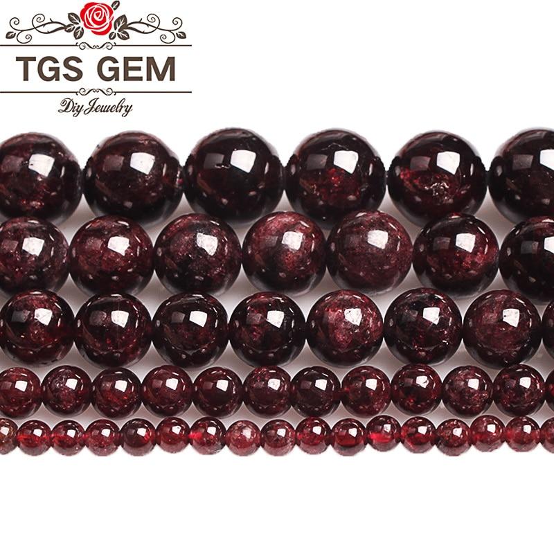 Natural Stone precious Garnet Beads Natural Gem Dark Red Round Smooth Loose Beads 4 6 8 10 12MM DIY Bracelet For Jewelry Making