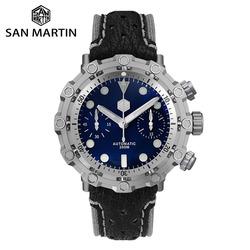 San Martin Dive Swiss ETA 7753 Chronograph Titanium Grade 5 Limited Edition Men Mechanical Watch Sapphire Shark Leather Strap