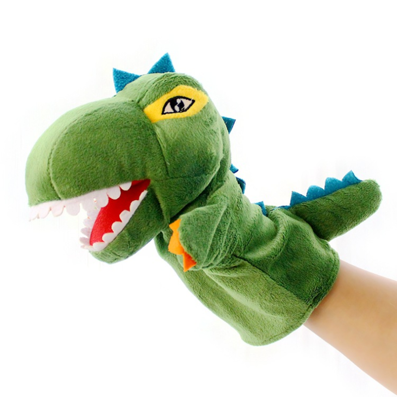 Cartoon Dinosaur Plush Soft Hand Puppet Glove Marionette Story Talking Doll Kids Toddler Pretend Playing Funny Toy Gift New