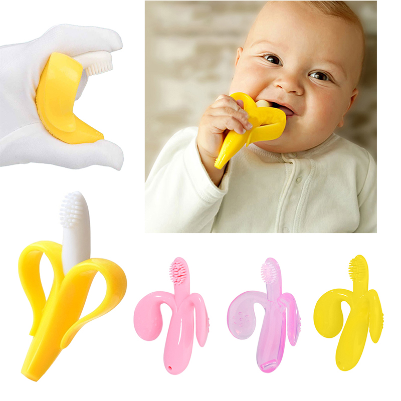 Baby Girls Boys Toothbrush Toddler Solid Food Grade Silicone Teether Newborn Kids Cartoon Teething Infant Chewing Toy
