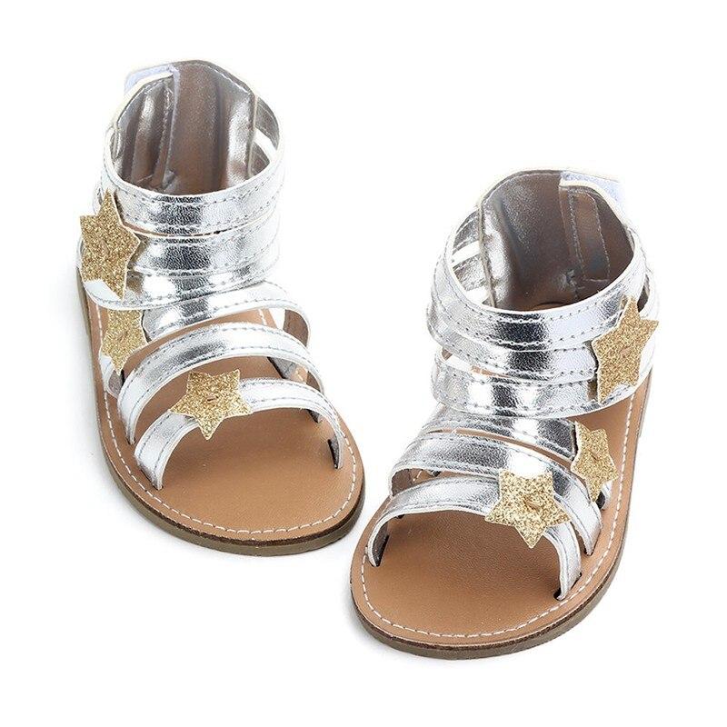Summer Shine Star Baby Shoes Soft Non-slip Crib Infant Girl Shoes Moccasins Sandal Baby Girls Sandals 0-18M