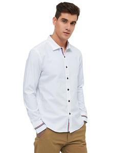 MIACAWOR Dress Shirts Camisa Slim-Fit Oxford White Long-Sleeve Men Fashion Spring Casual