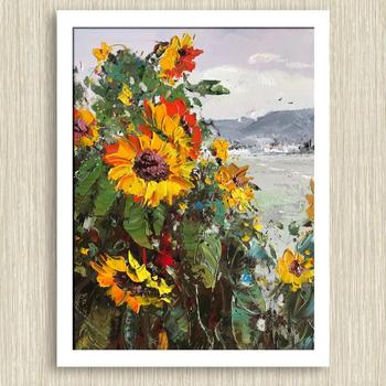 Sunflower oil painting knife painting landscape oil painting Home decoration artwork painting Modern knife painting landscape фото