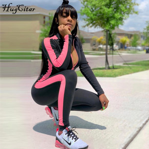 Image 4 - Hugcitar long sleeve striped patchwork zippers jumpsuit 2019 autumn winter stretchy streetwear outfits body