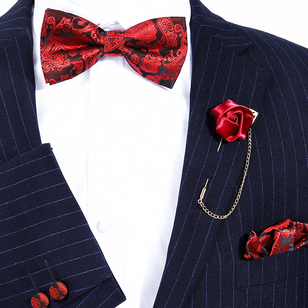Red Neck Tie Set Bow Ties For Men Paisley Pocket Square Wedding Party Silk Butterfly Boutonniere Cufflinks Handkerchief Bowtie