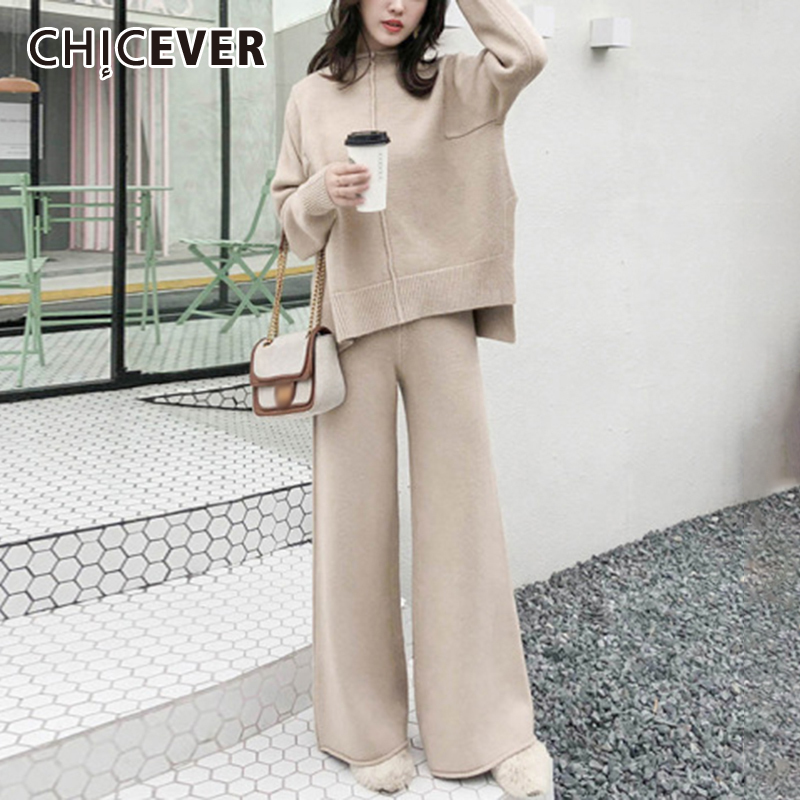 CHICEVER Oversized Two Piece Set For Women O Neck Long Sleeve Sweater High Waist Wide Leg Pants Loose Sets Female 2020 Clothing