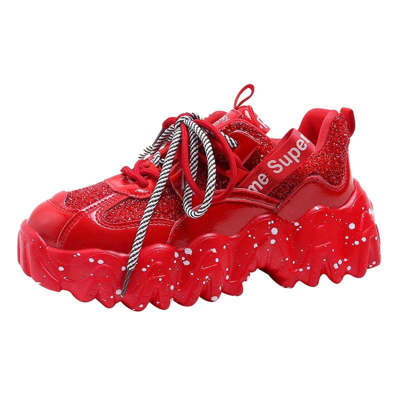JINJIN-52-2020 Spring Green Chunky Sneakers Women Casual Shoes Woman Frenulum Thick Sole Vulcanize Shoes
