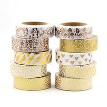 1 pçs alta qualidade folha de ouro 10m fita de papel ponto, tira, abacaxi, coração natal decorativo washi fita ouro washi fita