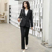 2020 Business Women Pencil Pant Suits 2 Piece Sets Black Solid Blazer and Pant Office Lady Single Breasted Jacket Female Suit