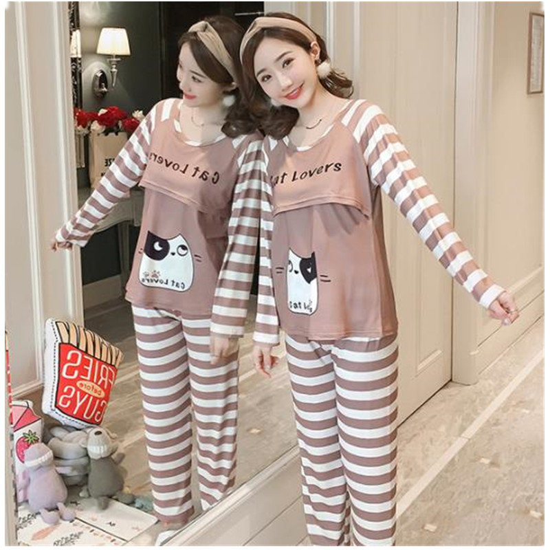 Breastfeeding Maternity Sleepwear Nursing Pajamas Sets Long Sleeve Clothes For Pregnant Women Maternity Nightgown Top Pant D0055 Buy At The Price Of 13 52 In Aliexpress Com Imall Com