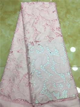 2019 Latest Embroidered African Tulle Laces Fabric Hot Selling Pink French Guipure Cord Lace Fabrics For Party Dresses X8