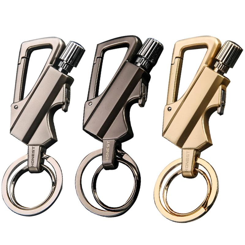 Multi-function Metal Fire Starter Match Lighter Key Chain Multifunction Tool Cigarette Lighter Key Chain Creative Portable