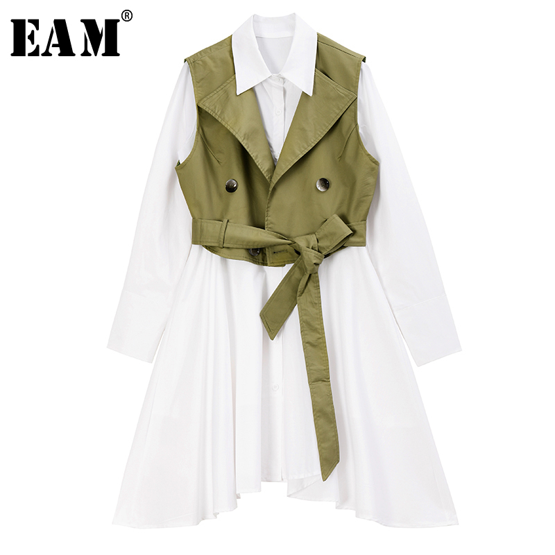 [EAM] Women Black Bandage Split Two Piece Blouse New Lapel Long Sleeve Loose Fit Shirt Fashion Tide Spring Autumn 2020 1R964