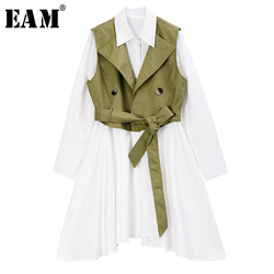 [EAM] Women Black Bandage Split Two Piece Blouse New Lapel Long Sleeve Loose Fit Shirt Fashion Tide Spring Autumn 2020 1R964