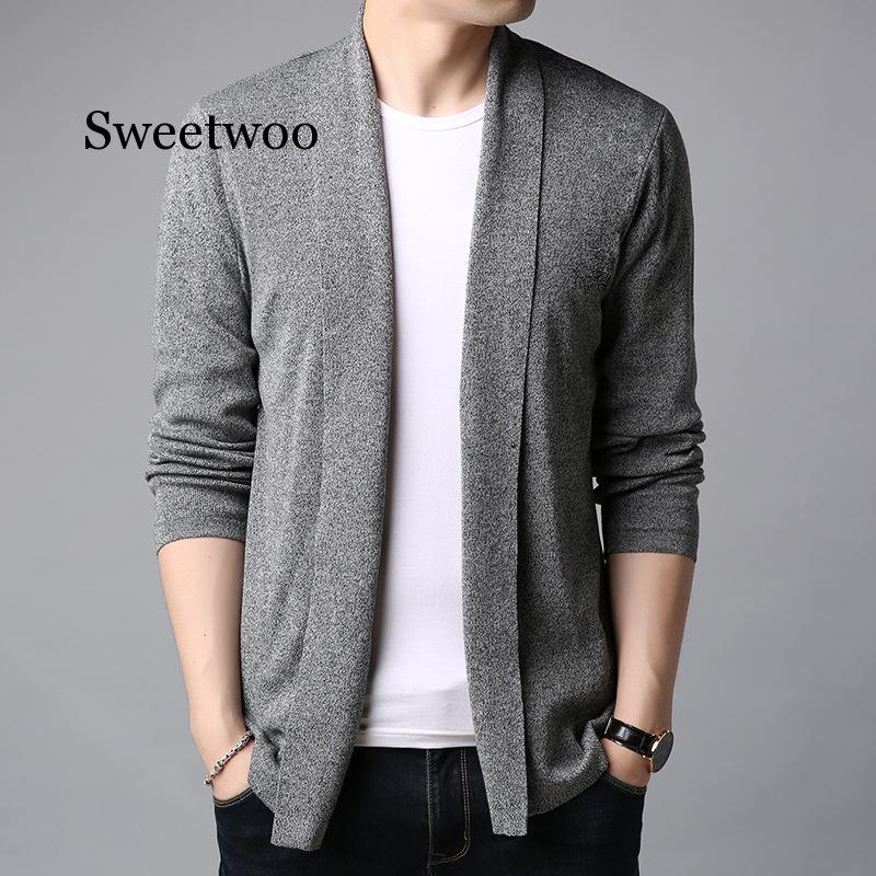 New Sweater Men Streetwear High Quality Fashion Sweater Coat Men Autumn Winter Warm Cashmere Wool Cardigan Men Gray Black