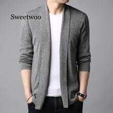 New Sweater Men Streetwear High Quality Fashion Sweater Coat Men Autumn Winter Warm Cashmere Wool Cardigan Men Gray Black