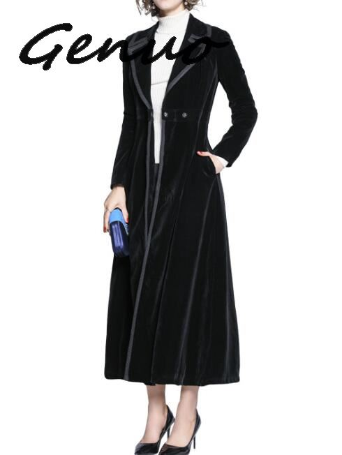 New 2019 Winter Runway Designer Women Vintage Notched Collar Wrap Black Velvet Maxi Coat Thick Warm Long Trench Coat Outwear