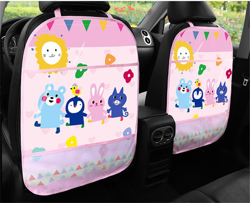 Car Organizer Tablet Stand Hanging Bag Baby Cartoon Car Seat Back Protector Car Storage Holder Kick Mat Baby Care Accessories
