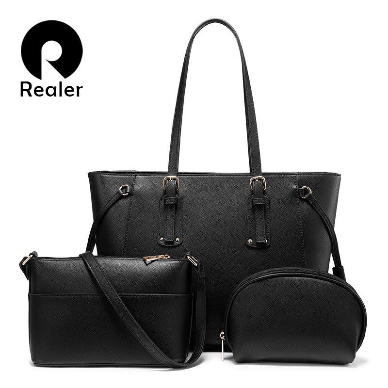Realer Bag Set Women Handbag Crossbody Shoulder Bag Female Purse Luxury Designer PU Leather For Ladies Totes Large Capacity