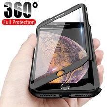 Lüks 360 tam koruma telefon iphone için kılıf 11 Pro XS MAX XR X Coque iphone için kılıf 6 6s 7 8 artı durumda 5 5S SE kapak cam