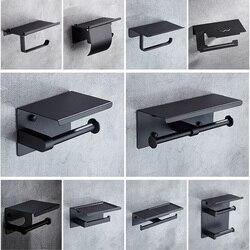 MTTUZK матовый черный держатель для туалетной бумаги из нержавеющей стали 304 с полкой для телефона держатель для туалетной бумаги в ванной ком...