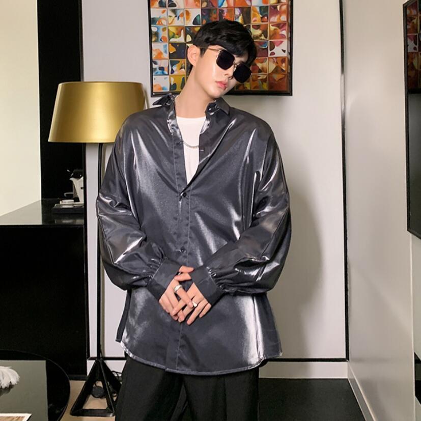 Image 5 - Осенняя Модная шелковая мужская рубашка с длинными рукавами винтажная негабаритная Блузка мужская хип хоп готическое панк блестящее платье рубашкиПовседневные рубашки   -