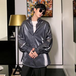 Image 5 - Jesień moda jedwabiu z długim rękawem koszula męska w stylu vintage bluzka oversize mężczyzna hip hop gothic punk błyszczące koszule