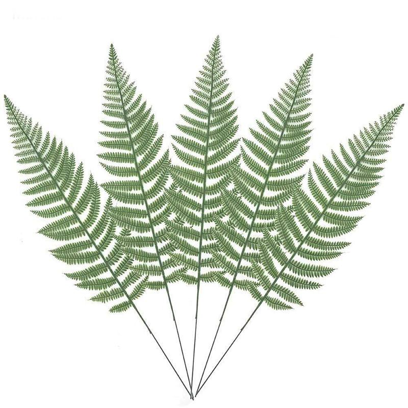 10PCS Artificial Boston Fern Bush Plant Faux Leaves Green Plants For Home Decor