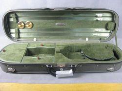 Substantial wooden olive violin case 4/4,4 bow holders