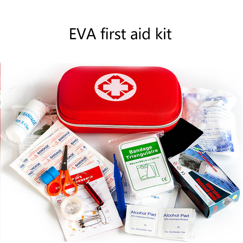 High Quality EVA Bag 18 Pcs Medical Treatment Emergency First Aid Kits Home Use Car Driving Camping Traveling Survival Tools