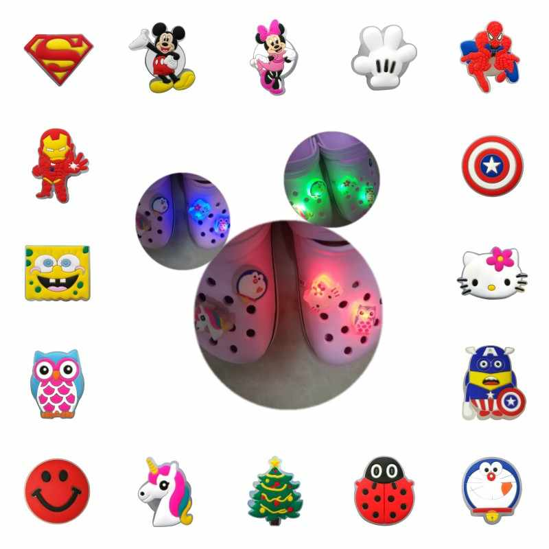 New 1pcs LED Shoe Charms Mickey Avenger Lighted Shoe Buckles Unicorns Shoe Accessories Crocse Charms JIBZ Kids Xmas Gift